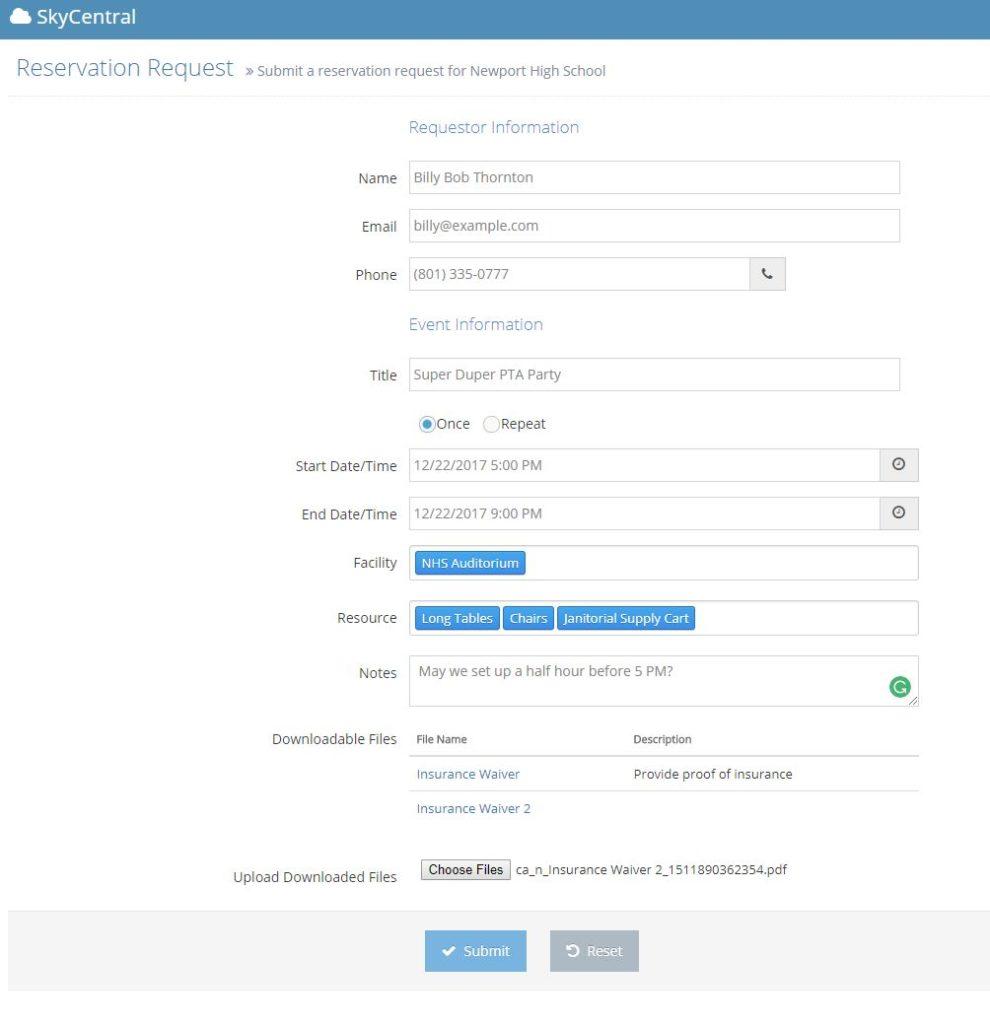 SkyCentral reservation form